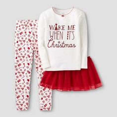 3 Piece Tutu Wake Me Christmas Cotton PJ - Just One You™Made by Carter's®