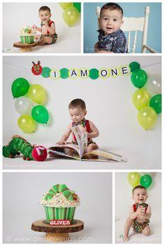 Gemini Visuals Creative Photography // White Rock/South Surrey, BC, Canada // www.geminivisuals.com | Cake Smash Hungry Catapillar