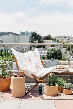 rooftop with potted plants and handcrafted home decor from Melanie Abrantes'  2016 Summer collection / sfgirlbybay