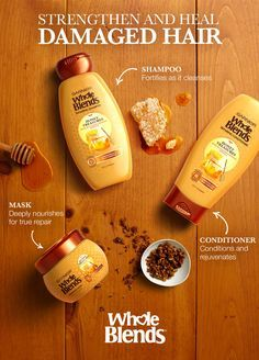 Damaged hair? Try Garnier's New Whole Blends Repairing Honey Treasures. The shampoo fortifies as it cleanses.  The conditioner rejuvenates and repairs and the mask deeply nourishes for true repair.  It's a richly repairing regimen and paraben-free formula, blended with carefully selected ingredient extracts, that bloom with sensorial fragrances of honey and royal jelly.
