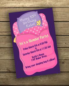 Girl's Sleep Over / Slumber Party Birthday invitation