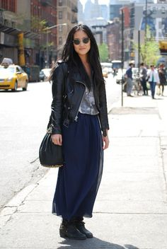 leather and navy blue maxi chicness