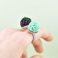 Polymer Clay and Silver Stacking Rings. Peppermint. Handmade by Maria Goti Joyas. €56,00, via Etsy.