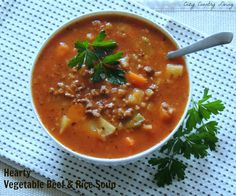 Hearty Vegetable Beef & Rice Soup   Cozy Country Living #soup #beef #vegetablesoup