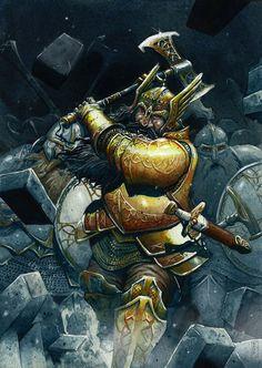 m Dwarf Fighter Royal Army Battle Axe Patrol Underdark fortress battle d&d RPG Fantasy Dwarf, Fantasy Rpg, Medieval Fantasy, Fantasy Artwork, Dark Fantasy, Fantasy Races, Fantasy Warrior, Dungeons And Dragons, Dark Souls