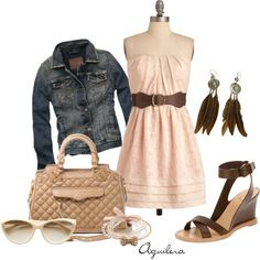 very cute dressy casual outfit- pink, short, strapless dress, jean jacket, and wedges WOULD BE CUTE WITH COWBOY BOOTS(: