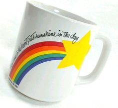 Spread Some Sunshine! W Berrie Happiness In The Heart Coffee Tea Mug Sunshine Rainbow Star 1980 Vtg #WBerrie #SunshineRainbow #coffeemugquote