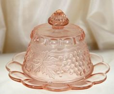 Pink Depression Glass Covered Butter Dish