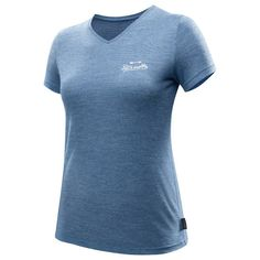 T-shirt korte mouwen TRAVEL 500 WOOL dames blauw - 1291906