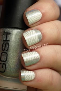 Stamping Plate: Bundle Monster BM223  Base Colour: Barry M Matt White  Stamping Colour: GOSH Holographic  Top Coat of NYC