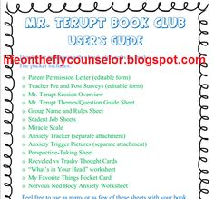 25-page PDF and Word Doc resources for Because of Mr. Terupt Book Club Life on the Fly.... A School Counselor Blog: What's on Your Summer Reading List? Book Clubs!