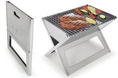 Take the barbecue anywhere with The Fold Flat Grill. Made from durable 304 stainless steel, the grill provides a 17 1/2″ x 13″ W cooking area for the wandering griller. And at less than 1″ thick when folded, it can hang out with the folding chairs until it's time to tailgate. Just don't confuse the two — especially while still hot.