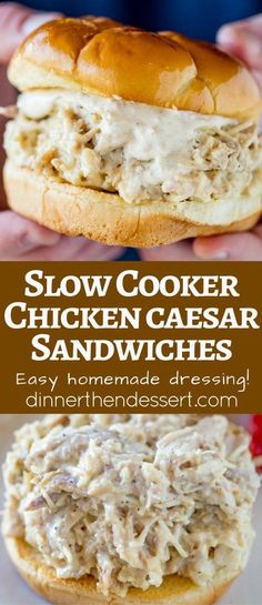 Cooker Chicken Caesar Sandwiches - Dinner, then Dessert Slow Cooker Chicken Caesar Sandwiches on a hamburger roll and with just a few minutes of prep.Slow Cooker Chicken Caesar Sandwiches on a hamburger roll and with just a few minutes of prep. Crock Pot Recipes, Slow Cooker Recipes, Cooking Recipes, Hamburger Recipes, Cooking Tips, Slow Cooker Chicken, Crock Pot Slow Cooker, Crock Pot Cooking, Chicken Caesar Sandwich