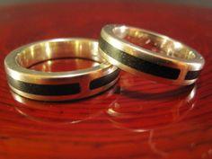 Fedi nuziali Woodpassion in argento ed ebano
