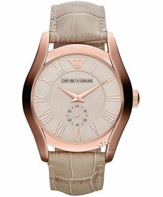 Emporio Armani Classic Beige Leather Strap, 269€ http://www.oroloi.gr/product_info.php?products_id=33552