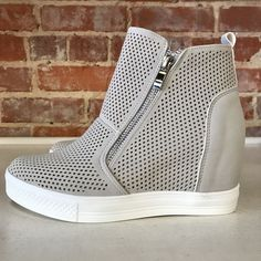 a5346c7cee Pumped Up Wedge Zipper Light Grey Sneakers from Cousin Couture. Grey  Wedges, Grey Heels