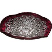 Imperial #699 Prism Crystal/Vernon Flared Whimsy Ruffle Ruby Stained Bowl