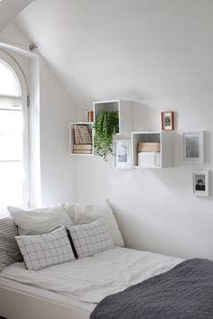 Spare room decor inspiration- love those shelves