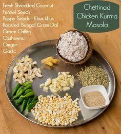 Chettinad Chicken Kurma, Chettinad Kari-Kozhi Kurma / Chicken Korma Recipe for Chettinad Kari / Kozhi Kurma. Made with coconut. Serve with idli, dosai, aappam or chapati. Chicken Kurma, Chettinad Chicken, Biryani Recipe, Masala Recipe, Chicken Masala Powder Recipe, Korma, Indian Chicken Recipes, Indian Food Recipes, Chapati