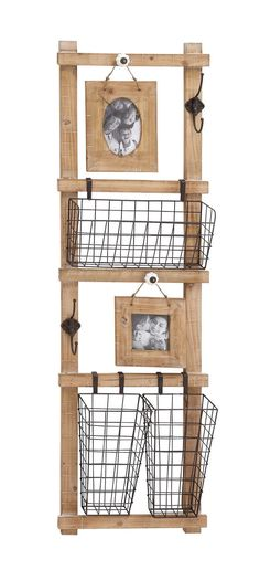 "15"" x 48"" Rustic Wood Wall Hanging Picture Frame w/ 3 Organizer Baskets, 2 Hooks"