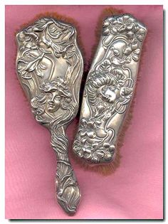 """Outstanding rare signed William B. Kerr circa 1901 """"American Beauty"""" series Art Nouveau sterling silver dresser vanity brush set with extraordinary detail and extremely high repoussé design 