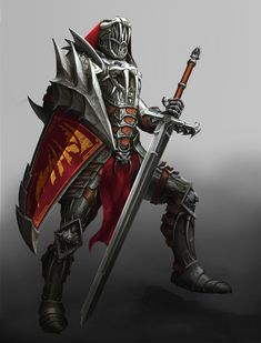 This armour looks fearsome on this image, especially the top of the shield where the spikes lie. This is something I would look at using on my boss' armour, particularly along the spine of the character to protect it.