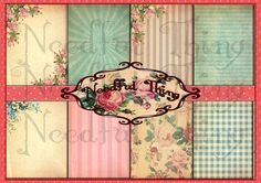 Vintage old paper background roses flower floral pink purple shabby chic greetings card french digital collage invitation scrapbooking VR10  Graphic Design  papercraft  scrapbook  decoration  printable  graphic design  instant download  digital collage antique  shabby  card