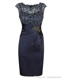 Knee Length Navy Blue Mother Of The Bride Dresses For Weddings Custom Made Lace Screw Neck Cap Sleeves Women Formal Party Dress Beaded Mother Of The Bride Dresses Beautiful Mother Of The Bride Dresses From Cshengdresses, $86.44| Dhgate.Com