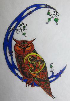 Owl and Moon by *Mattsma Irish Celtic, Celtic Art, Celtic Symbols, Quirky Art, Whimsical Art, Tango, Native American Animals, Zen, Celtic Tattoos