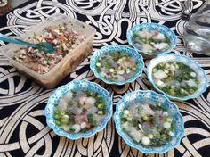 Caldo de piedra y ceviche de camarón, pulpo y pescado