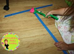 Beginning writers! Use painters tape for letters, numbers, and shapes. Kids can trace with wands, feet, and objects. Great for kinesthetic learners!