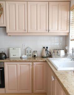 Pink Kitchen Cabinets, Kitchen Cabinet Colors, Kitchen Colors, Kitchen Design, Kitchen Ideas, Cabinet Makeover, Rv Makeover, Peach Paint, Peach Kitchen