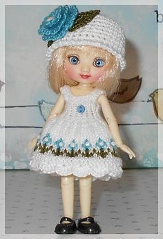 Amelia Thimble Dolls Sleeveless White with Aqua Flowers Dress and Hat by JCsTinyTreasures on Etsy