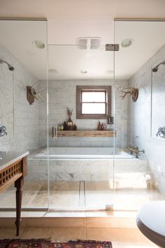 a grand bathroom, tub, double shower combo // the best bathrooms of 2018 tile ideas Chic Bathrooms, Dream Bathrooms, Amazing Bathrooms, Small Bathroom, Master Bathroom, Tiled Bathrooms, Bathroom Ideas, Bathroom Tubs, Bathroom Renovations
