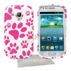 Galaxy 3 Phone Cases | Samsung Galaxy S3 Mini / Stylish Pink Paw Print Gel Case + Screen ...
