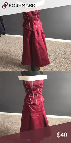 two-piece Burgundy and white A two-piece outfit by Eden maids could be worn to a wedding as a bridesmaid or for holiday it is a sample Eden Maids Dresses Midi