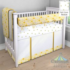 Custom crib bedding designer by Carousel Designs. Mix and match hundreds of fabrics to create your own unique baby bedding. Yellow Crib, Yellow Bedding, Yellow Nursery, Bee Nursery, Nursery Bedding, Babies Nursery, Nursery Ideas, Bedding Sets, Custom Baby Bedding