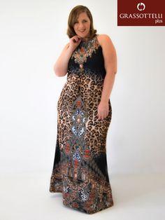 d695b28ce Vestido Regata Longo Estampado Plus Size - Realist Vestido Festa, Regata,  Vestido Longo,