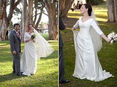 Frum Jewish wedding dress with sleeves