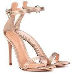 Gianvito Rossi Portofino 105 Satin Sandals (3.515 RON) ❤ liked on Polyvore featuring shoes, sandals, beige, gianvito rossi, gianvito rossi shoes, beige satin shoes, beige shoes and beige sandals