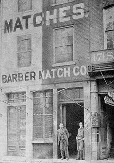 By the late 19th century, the Barber Match Company, located in Barberton, Oh had become the largest manufacturer of matches in the United States of America.  In 1847 George Barber began a match company inside of his barn. In 1857, Ohio Columbus Barber, George Barber's son, left school and spent the next five years traveling across Ohio, Indiana, and Michigan, selling his fathers matches. In 1862, O.C. Barber assumed control of the entire business and, in 1864, formed the Barber Match…