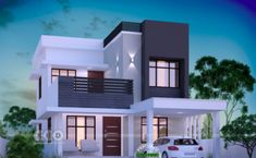 1645 square feet 3 bedroom modern house plan is part of Bungalow house design - 1645 square feet 3 bedroom modern style beautiful house plan by Dream Form from Kerala House Outside Design, House Front Design, House Design Plans, 2 Storey House Design, Bungalow House Design, Modern Small House Design, Modern Contemporary House, Modern Design, Beautiful House Plans