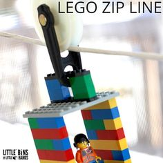 Craft a LEGO zip line activity for a neat physics lesson or cool play time idea. A LEGO zip line activity is a great boredom buster with simple supplies!