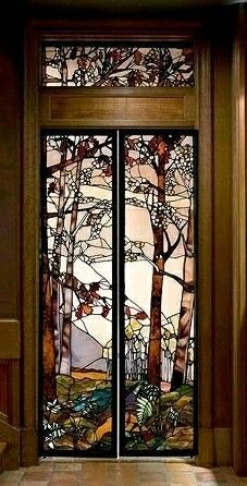 Stained Glass Birch Tree Interior Door Stainedglasswall Stained Glass Door Glass Art Installation Stained Glass Art