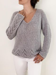 Sweater Knitting Patterns, Knitting Stitches, Knit Patterns, Baby Knitting, Free Knitting Patterns For Women, Pull Mohair, Cashmere Color, Winter Sweaters, Women's Sweaters