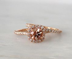 SET Morganite Engagement Rings in 14K Rose Gold by Studio1040