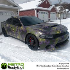 Metro Diverse Series Meadow is a vehicle vinyl wrap camo offered by Metro Restyling. It is a unique wrap with a camouflage pattern of military greens, yellow and a purple glow, topped off by a hexagon pattern. Hexagon Pattern, Car Wrap, Military Green, Camouflage, Paint, Film, Vehicles, Movie, Picture Wall