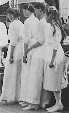 Grand Duchesses aboard the Imperial yacht Standart taken on what would be their last summer of freedom.