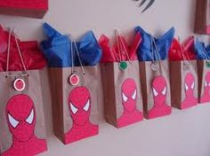 Gift bag idea for spiderman party