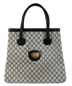 Gucci monogram vintage 1980's shopper leather bag blue and